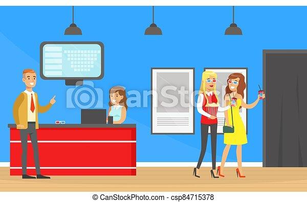 compra, ilustración, yendo, cine, boletos, boleto, gente, cine, mostrador, vector, caricatura, servicio, visitantes - csp84715378
