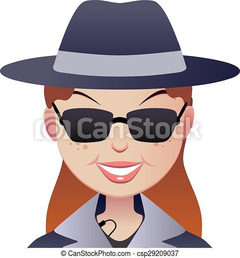 Cara de mujer compradora secreta misteriosa. - csp29209037