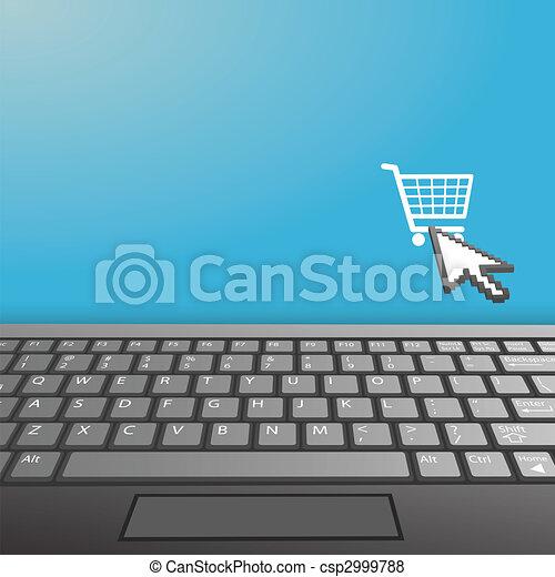 El teclado de la cubierta Laptop Internet compra espacio de imitación - csp2999788