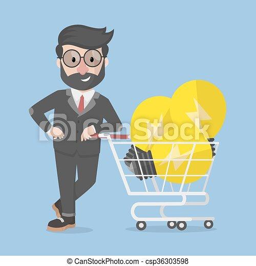 comprare, idea, uomo affari - csp36303598