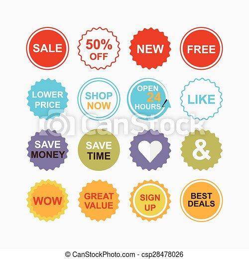 Ventas coloridas y iconos de compras - csp28478026