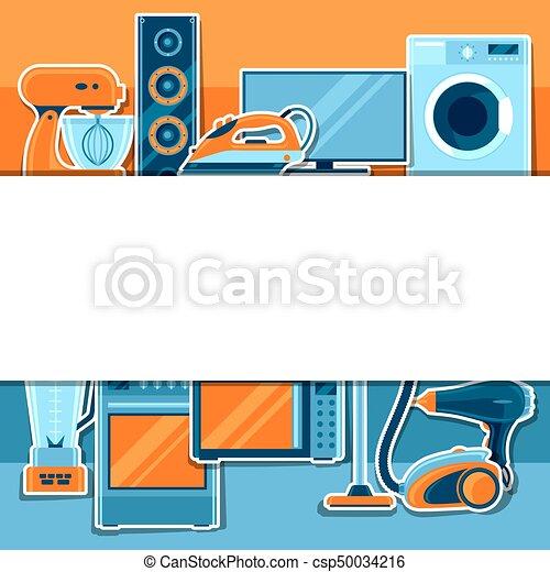 Antecedentes con aparatos caseros. Artículos de la casa a la venta y carteles de publicidad - csp50034216