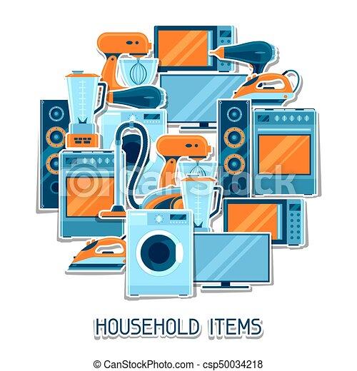 Antecedentes con aparatos caseros. Artículos de la casa a la venta y carteles de publicidad - csp50034218