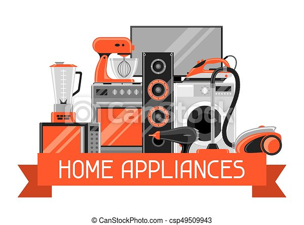 Antecedentes con aparatos caseros. Artículos de la casa a la venta y carteles de publicidad - csp49509943