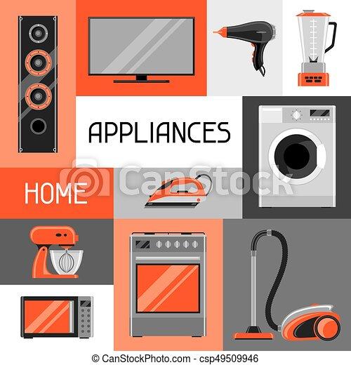 Antecedentes con aparatos caseros. Artículos de la casa a la venta y carteles de publicidad - csp49509946