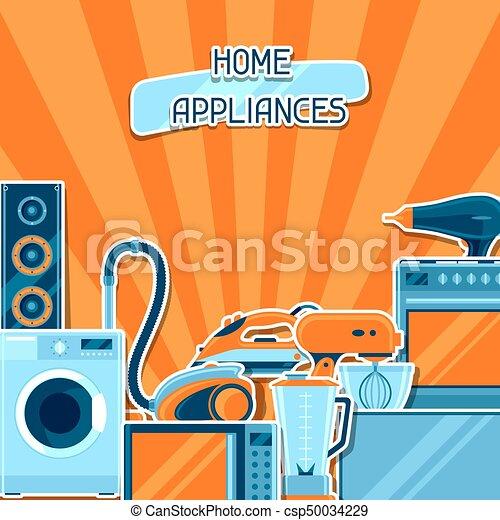 Antecedentes con aparatos caseros. Artículos de la casa a la venta y carteles de publicidad - csp50034229