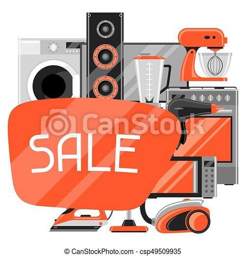 Venta de antecedentes con aparatos caseros. Artículos de la casa para comprar y publicidad - csp49509935