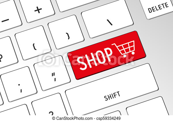Carro de compras, teclado de computadora 3D - csp59334249