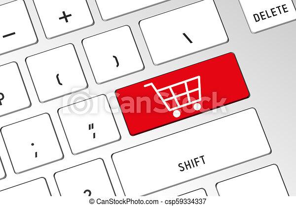 Carro de compras, teclado de computadora 3D - csp59334337