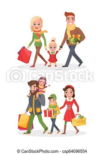 La compra de Navidad feliz familia comprando vector de día - csp64096554