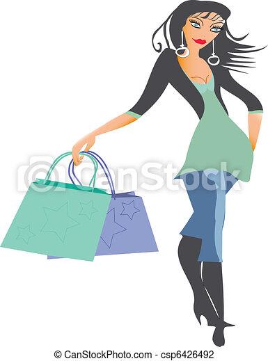 compras, dama - csp6426492