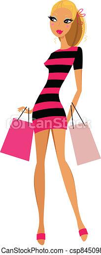 Una mujer rubia que compra mujeres aisladas de fondo blanco - csp8450984
