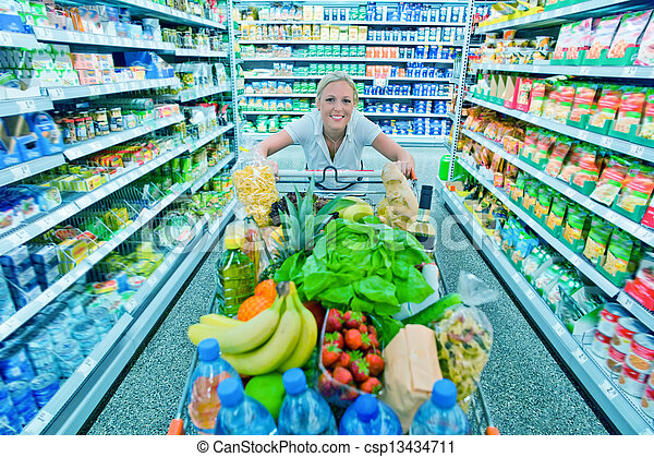 compras de mujer, supermercado, carrito - csp13434711