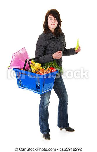 compras de mujer, supermercado - csp5916292