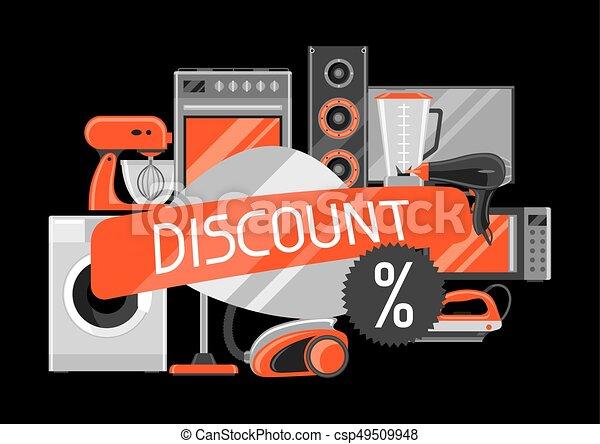 Descuento con aparatos caseros. Artículos de la casa para comprar y publicidad - csp49509948