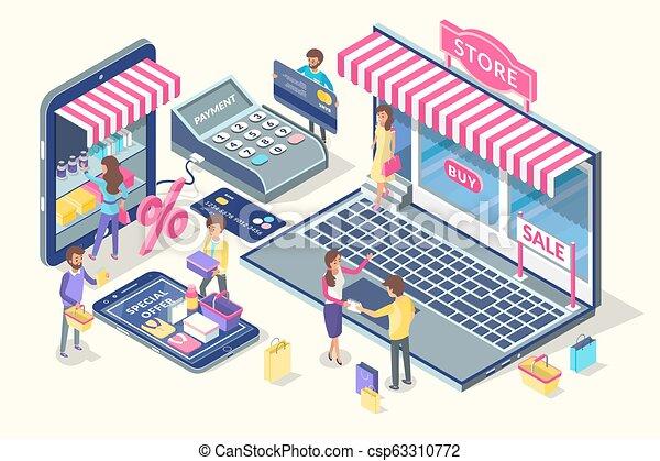 El emblema de la compra en línea, estandarte vectorial de dibujos animados - csp63310772