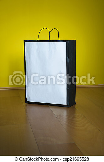 compras, espacio, piso de madera, bolsa, copia - csp21695528