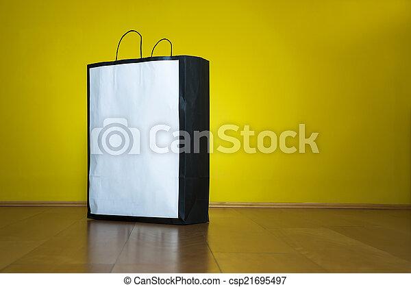 compras, espacio, piso de madera, bolsa, copia - csp21695497