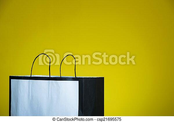 compras, espacio, piso de madera, bolsa, copia - csp21695575