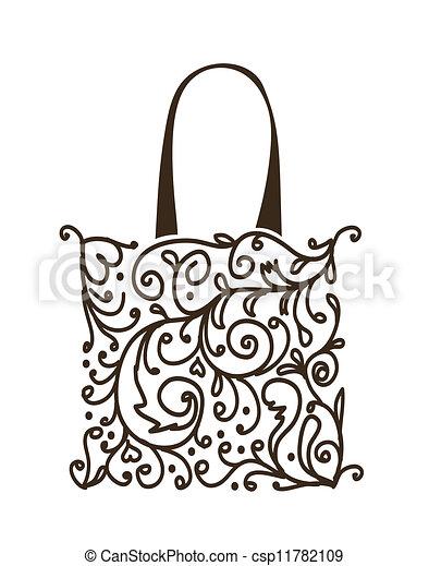 Diseño de bolsas, adornos florales - csp11782109
