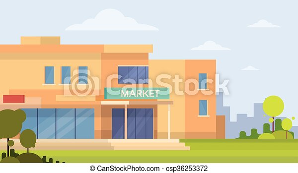 Edificio exterior de supermercado - csp36253372