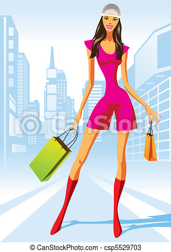 compras, moda, niñas - csp5529703
