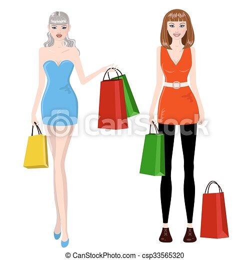 Chicas de compras - csp33565320