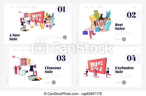 compras, plantilla, discount., grande, set., compras, paquetes, aterrizaje, hombres, mujeres, shopaholic, caracteres, venta, página - csp83947178