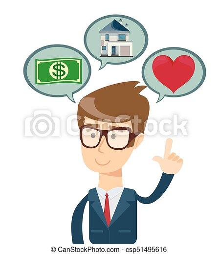 Un exitoso hombre de negocios soñando con casa, compras, amor. - csp51495616