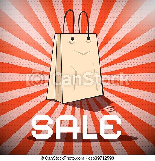 Título de venta con una bolsa de papel en un fondo rojo retro - csp39712593