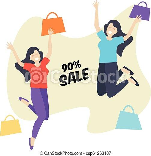 Comprando chicas felices y saltando, rebajas - csp61263187