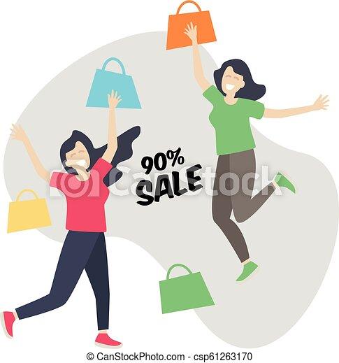 Comprando chicas felices y saltando, rebajas - csp61263170