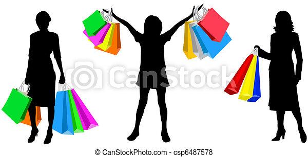 Compras Womans Compras Sacolas Silueta Womans