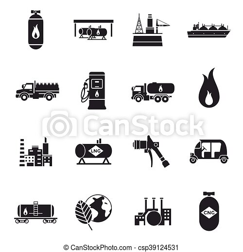 Compressed And Liquid Natural Gas Icons Compressed And Liquid