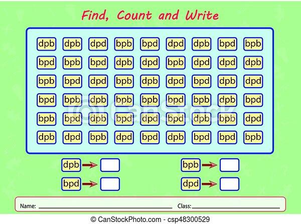 compte, worksheet, trouver, gosses, écrire - csp48300529