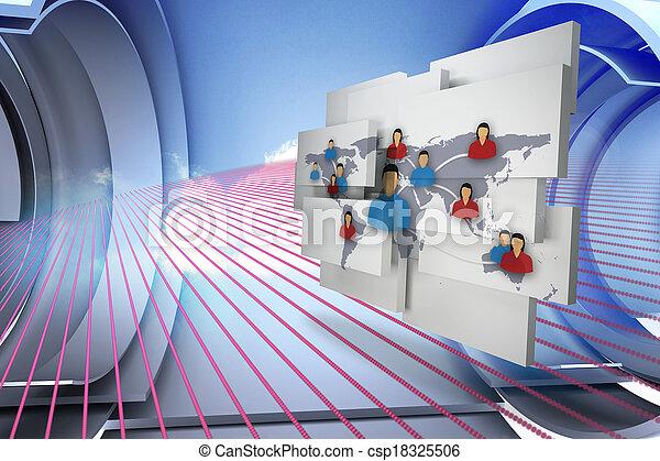 Una imagen compuesta de comunidad internacional en pantalla abstracta - csp18325506