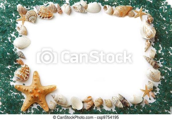 Compuesto, marco, sal, conchas de mar. Compuesto, conchas, imagen ...