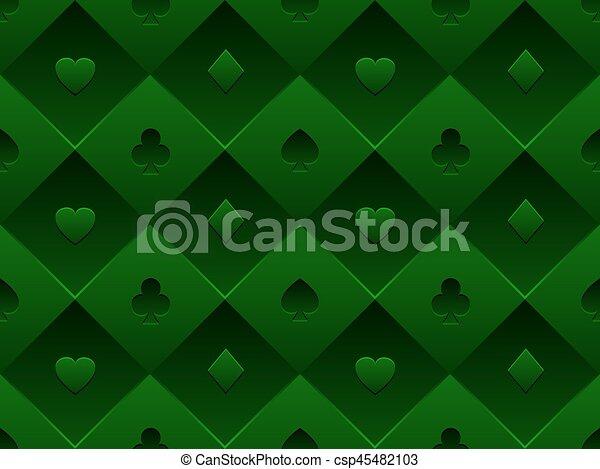 Una mesa de póquer de telas sin costura verde. Vector minimalista de casino 3D con textura compuesta por el símbolo de la tarjeta de volumen - csp45482103