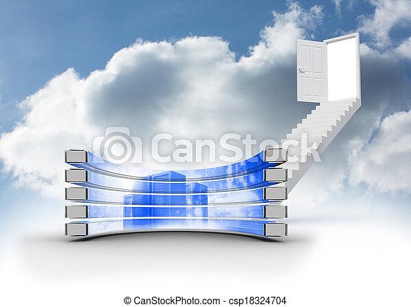 Imágenes de servidor en pantalla abstracta - csp18324704