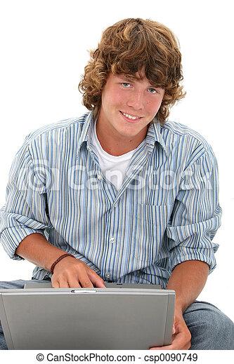 computador, menino adolescente - csp0090749