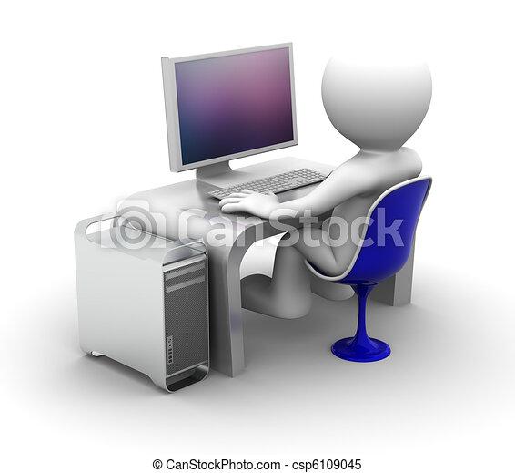 computador, personagem, trabalhando, 3d - csp6109045