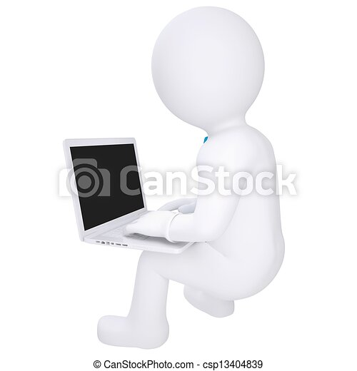 Hombre blanco sentado con un portátil - csp13404839