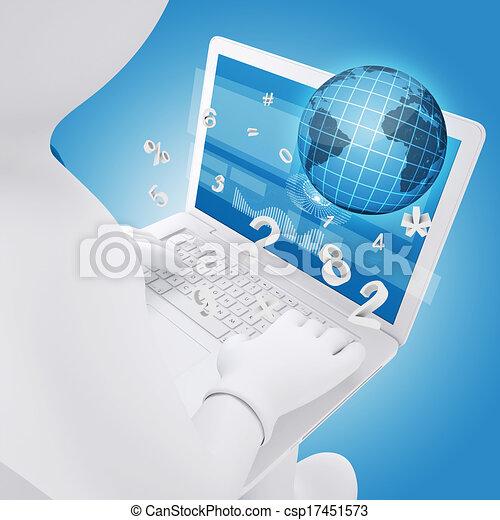 Hombre blanco sentado con un portátil - csp17451573