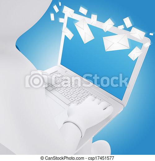 Hombre blanco sentado con un portátil - csp17451577