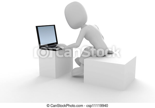 Hombre 3D y portátil - csp11119940
