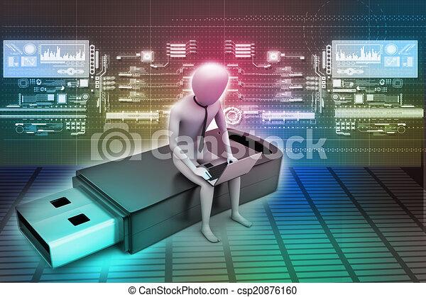 Hombre 3D y portátil sentados - csp20876160