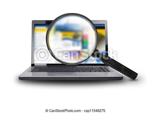 computador portatil, comput, buscando, internet - csp11546275