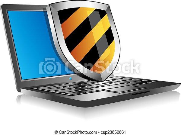 Un portátil con placa - csp23852861