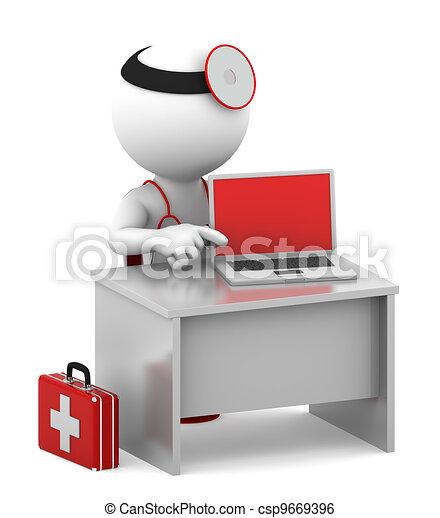 Doctor con portátil sentado en su oficina - csp9669396