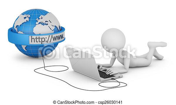 Hombre y portátil - csp26030141